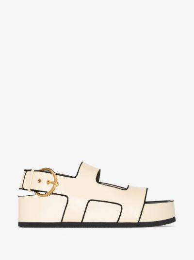 Yellow Cher 50 Flatform Leather Sandals