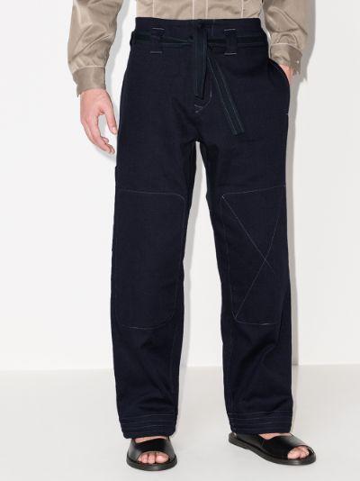 Dogi Topstitch Straight Leg Trousers