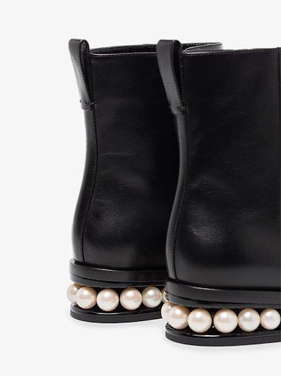 black Casati 30 leather pearl heel boots