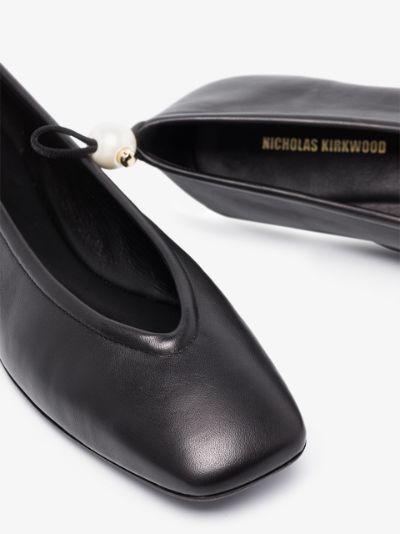 black DELFI leather ballet pumps
