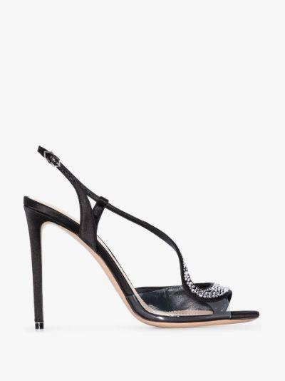 black S Crystal 105 embellished sandals