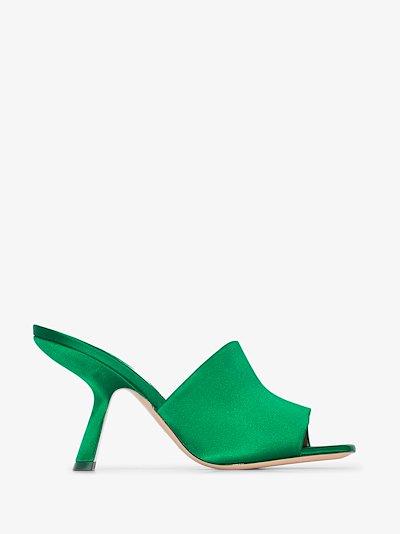 green Alba 90 satin mules