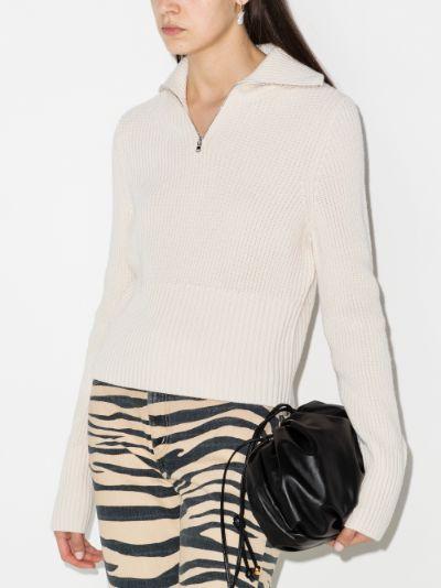 zip-up merino wool sweater