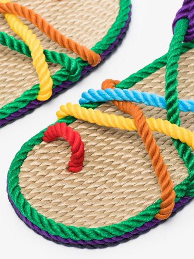 multicoloured Toe Joe rope sandals