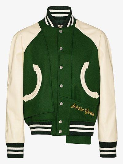 Sahara varsity wool leather bomber jacket