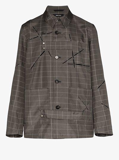 Reflector checked shirt jacket