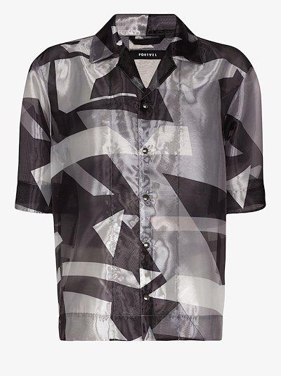 Sheer graphic print shirt