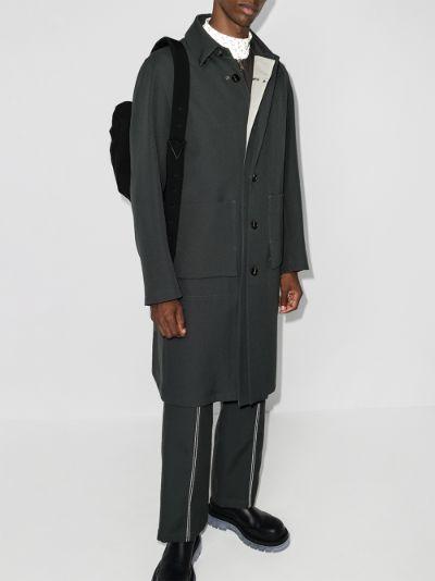 stripe trim cotton coat