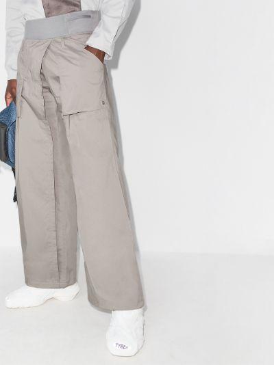 wrap wide leg trousers