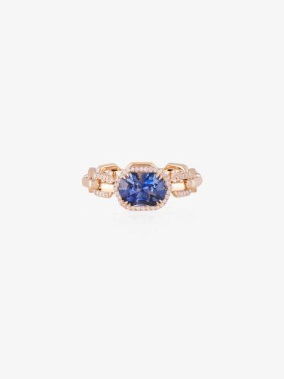 14K yellow gold chain sapphire diamond ring