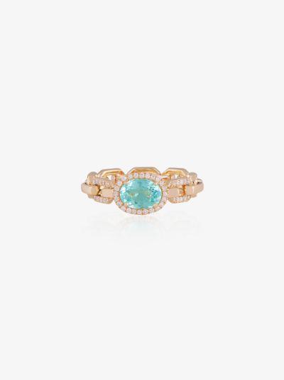 14K yellow gold chain tourmaline diamond ring