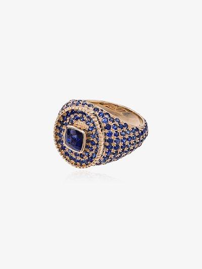 14K yellow gold sapphire signet ring