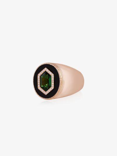 14K yellow gold tsavorite diamond signet ring