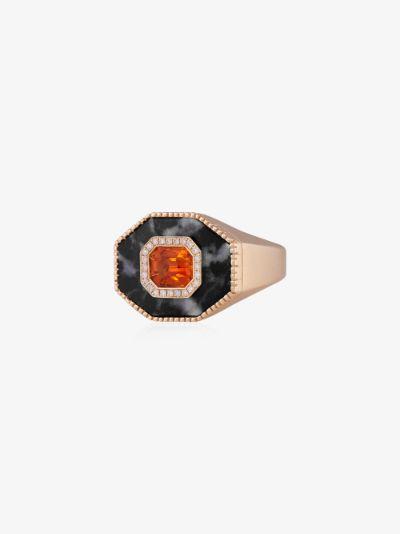 14K yellow gold zebra jasper sapphire signet ring