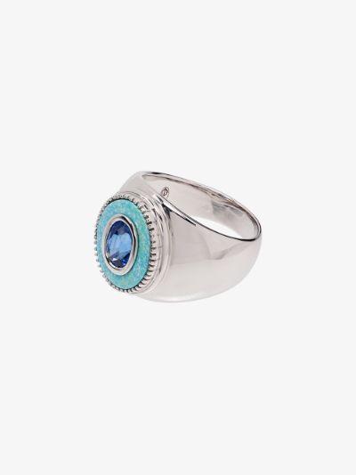 9K white gold blue sapphire ring
