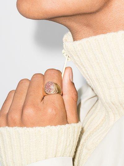 9K yellow gold rhodochrosite signet ring