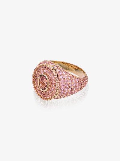 9K yellow gold sapphire signet ring