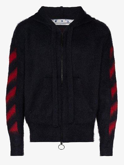 arrow print mohair alpaca zipped hoodie
