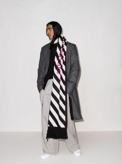 black and white intarsia knit logo scarf