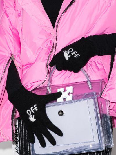 black logo hand wool gloves