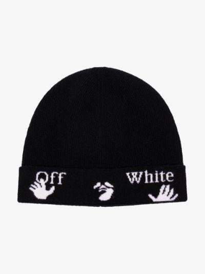 black logo knit wool beanie hat