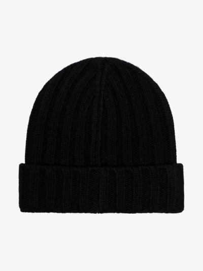 black logo patch wool beanie hat