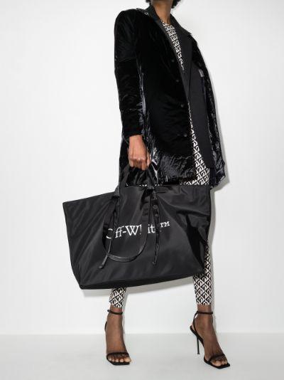 Black logo print tote bag