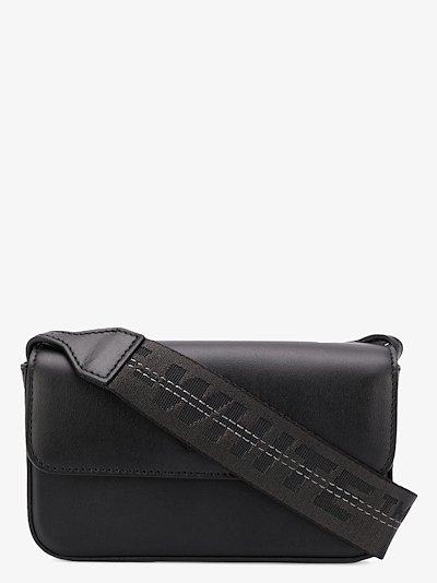 black logo strap leather cross body bag
