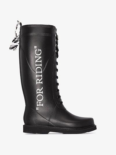 black logo wellington boots