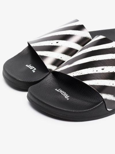 black spray zebra stripe slides