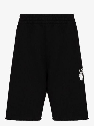 diagonal stripe sweat shorts