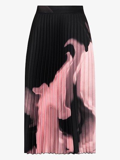 graphic print pleated midi skirt