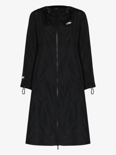 hooded logo raincoat