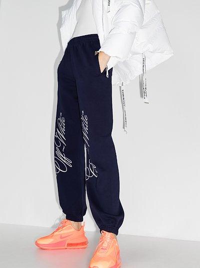 italic logo cotton track pants