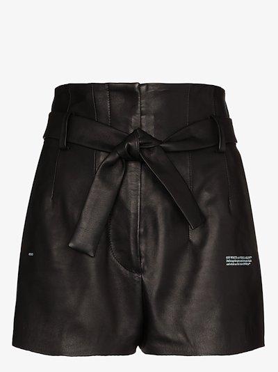 leather logo shorts