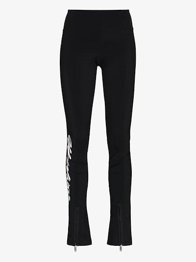 logo-print split-ankle performance leggings