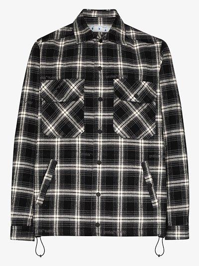 stencil arrow checked shirt jacket