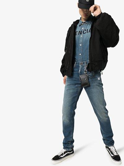 stripe print straight leg jeans