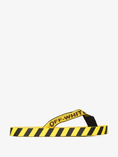 yellow industrial logo flip flops