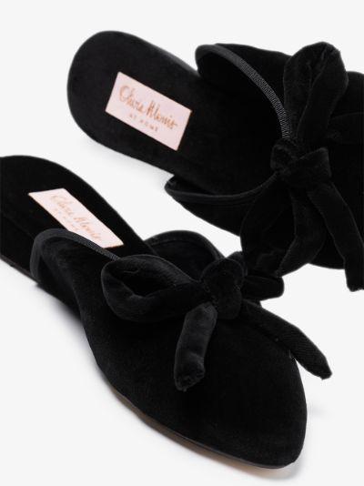 Black Daphne velvet slippers