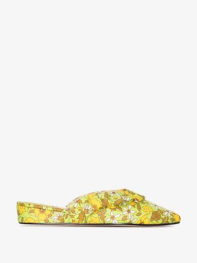 Green Blossom frill slippers