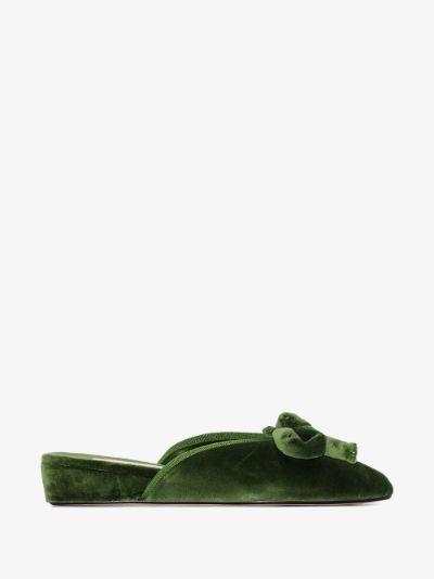 Green Daphne velvet slippers