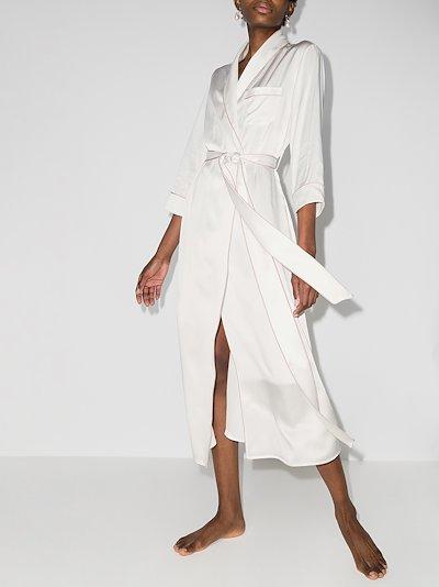 Astrid Ivory Oyster silk robe