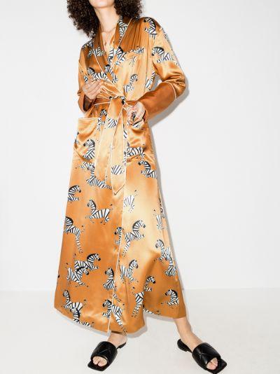 Capability zelda zebra print silk robe