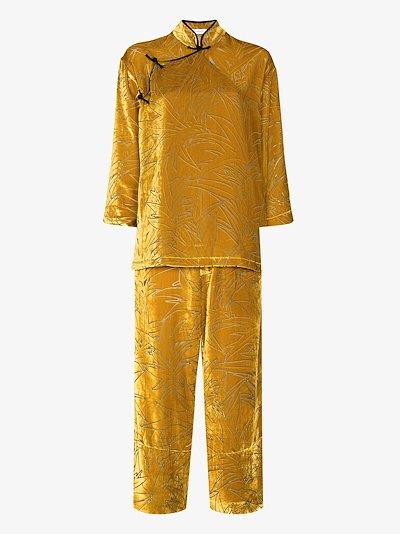 Harlow Leaf velvet pyjamas
