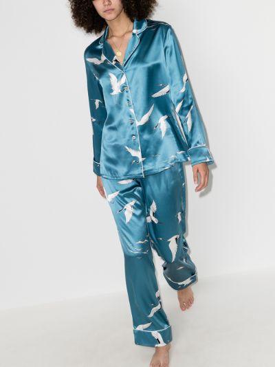 Lila Bird Print Silk Pyjamas