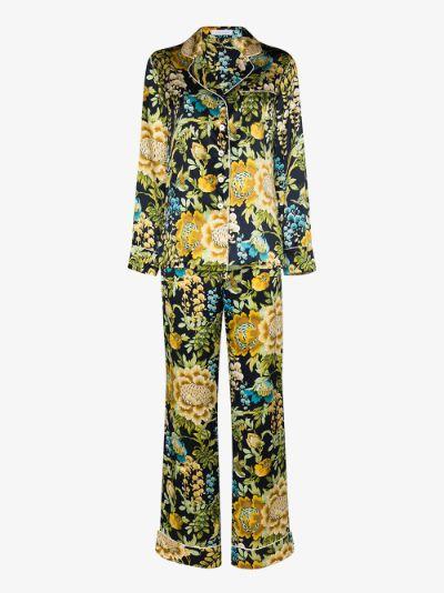 Lila Debauchery floral print silk pyjamas