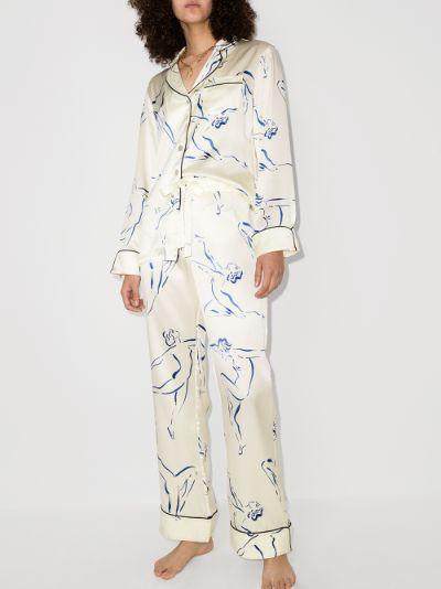 Lila Euripides printed silk pyjamas