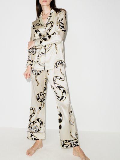 Lila Sassoon snake motif silk pyjamas