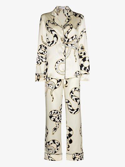 Lila Sassoon snake print silk pyjamas